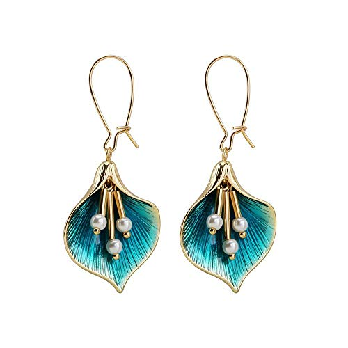YAZILIND Imitation Pearl Flower Pendant Dangle Hoop Earrings Baroco Style Women Jewellery Gift(Green)
