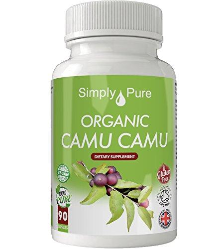 Simply Pure Organic Camu Camu Capsules x 90, 500mg, 100% Natural Soil Association Certified, Gluten Free, GM Free and Vegan.