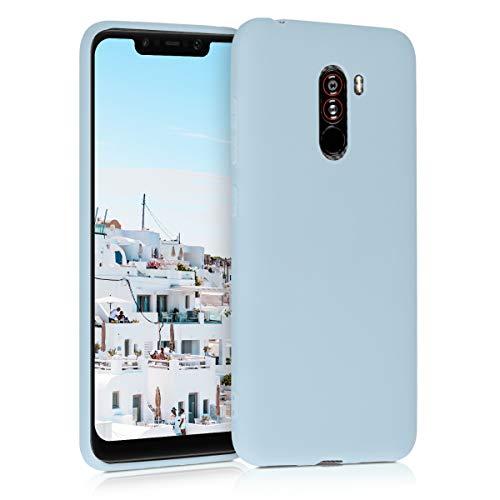 kwmobile Funda Compatible con Xiaomi Pocophone F1 - Carcasa de TPU Silicona - Protector Trasero en Azul Claro Mate