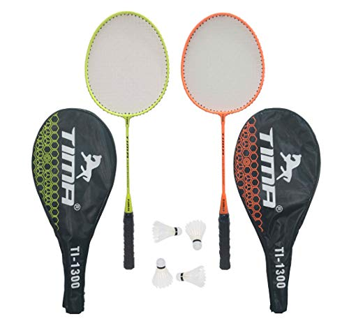 Tima Set of Badminton Rackets, Pair of Rackets, Lightweight & Sturdy, with 4 Feather SHUTTLECOCKS, for Professional & Beginner...