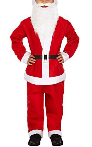 iEFiEL Costume da Babbo Natale Bambino Neonato Abito Natalizio Inverno Regalo di Natale per Ragazzo 5 Pcs Top + Pantaloni + Cappello + Cintura + Barba Outfits 3-14Anni Rosso 3-5 Anni
