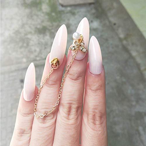 Valse nagels, nep nagels, Franse acryl stijl kunstmatige nep kunst nagels Tips, voor vrouwen meisjes, overdreven mooie beige wit met ketting-lengte op de nagels