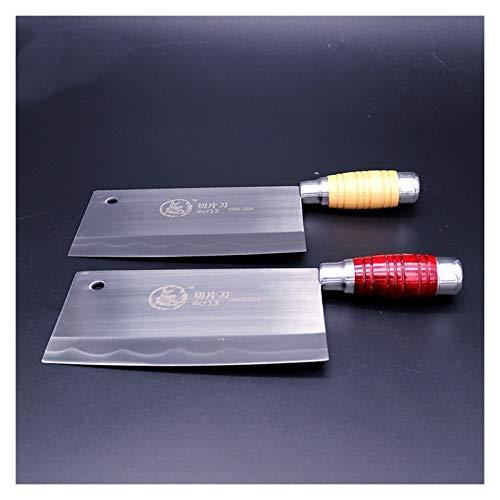 hjbds Schneidemesser Chinesische handgemachte Küchenchef Kochmesser Rasiermesser scharf Einfuhr Fleisch Fisch Gemüse rutschfeste Griff (Color : Red Handle)