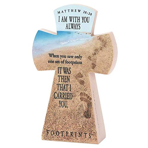 Dicksons Matthew 28:20 Always with You Footprints 7.5 inch Resin Stone Table Top Cross Figurine