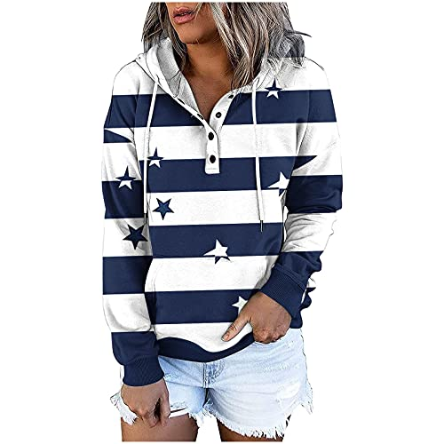 GIJK Winter Hoodie for Women 2021 New Star Color Striped Long Sleeve Button Down Pullover Shirts Baggy Outcoat Sweatshirts Blue