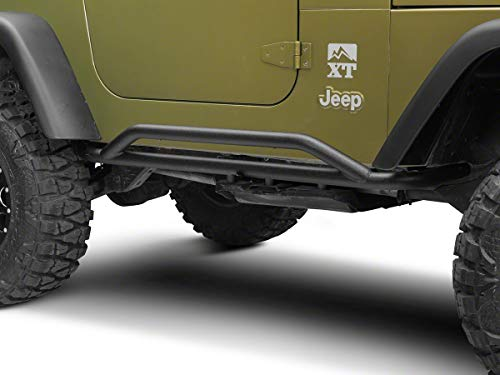 Redrock 4x4 Rocker Guards; Textured Black for Jeep Wrangler 1987-2006