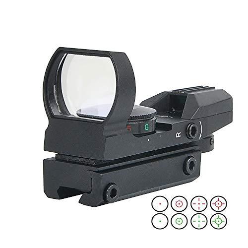 JASHKE Visor de Punto Rojo Iluminación Roja y Verde con Miras Telescópicas de 4 Retículas para Riel de 11 mm