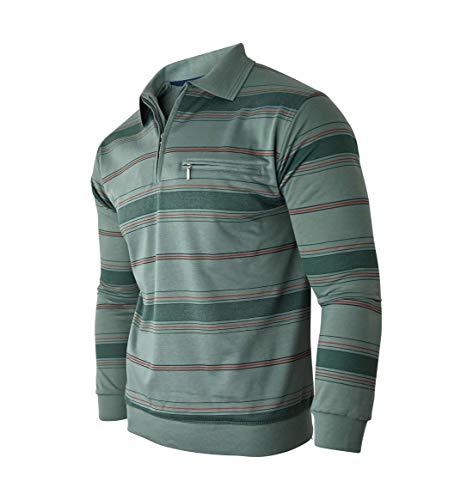 Humy Herren Langarm Sweatshirt, Gestreifte Blousonshirts, Pullover, Poloshirts aus Baumwoll-Mix (M bis 3XL) (XL, [M2] Oliv)