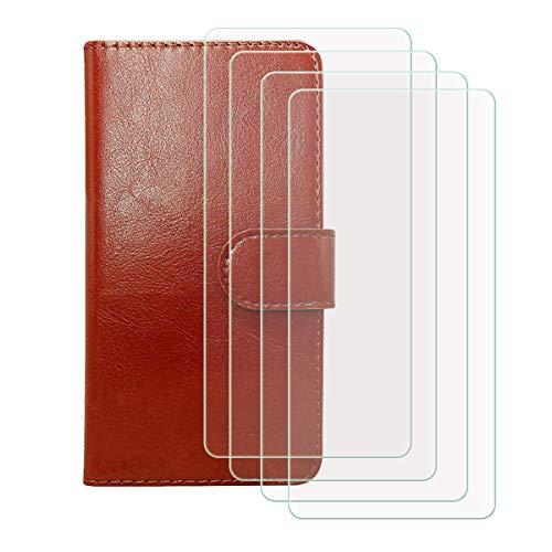 DQG Funda para Infinix Note 10 (6.95'), [4 Tabletas Protector de Pantalla Vidrio Templado] + Leather Carcasa Tapa Bumper PU Caso Soporte Cartera Case Flip Cuero Wallet Cover para - Marrón
