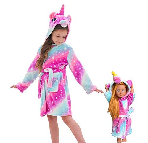 Soft Unicorn Hooded Bathrobe Sleepwear for Matching Doll & Girls (Pink Galaxy,...