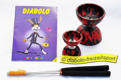 Diabolo 2er Set je 1x Alustäbe/Heft/Diabolo Harlekin Medi. schwarz rot/+Diabolo Harlekin Mini schwarz/rot