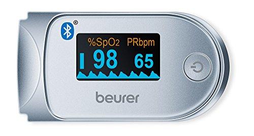 Beurer PO 60 BT Pulsioxímetro de Dedo con Bluetooth, Color Blanco y Plata,...