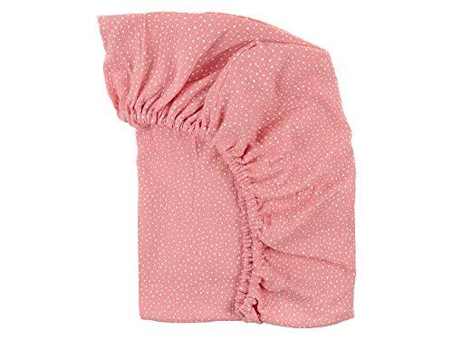 KraftKids Sábana bajera de muselina rosa con puntos de algodón 100 % en tamaño 140 x 70 cm, funda de colchón hecha a mano fabricada en la UE