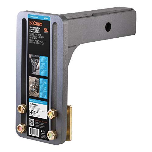 CURT 48548 SecureLatch Adjustable Pintle Mount Plate, 2-1/2-Inch Shank, 30,000 Pounds
