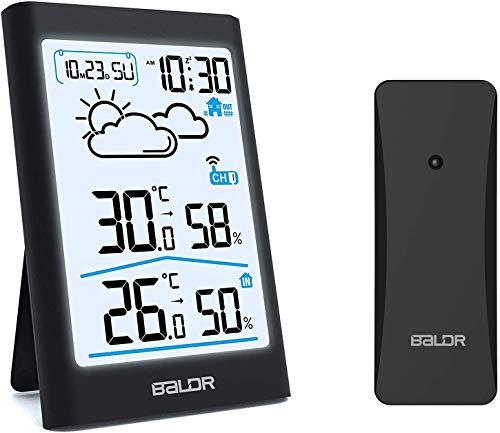 BALDR Stazione Meteo Radio con sensore Esterno, termometro Digitale, igrometro Interno ed Esterno, termometro per Ambienti con previsioni Meteo, visualizzazione dell'ora, Sveglia e Luce Notturna