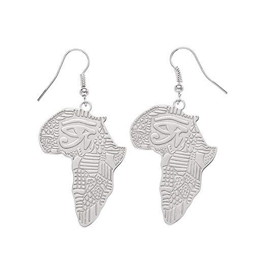 Pendientes de acero inoxidable con diseño hueco y plata estilo hip hop, estilo exagerado, ojo de Horus, pendientes de mapa de África (tipo 1, plata)