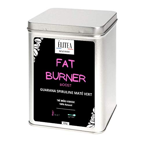 Thé Infusion Fat Burner Booster + Un cuillère à thé Energie Brûle Graisse Spiruline Guarana Maté Matcha Tisane 100% Vegan Coupe faim Détox Puissant Antioxydant Élitea