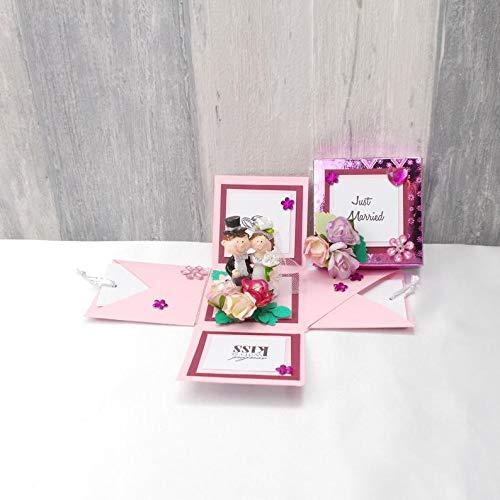 Explosionsbox Hochzeit, Explosionsbox, Hochzeitsgeschenk, Geldgeschenk Hochzeit, Geldgeschenk, rosa lila