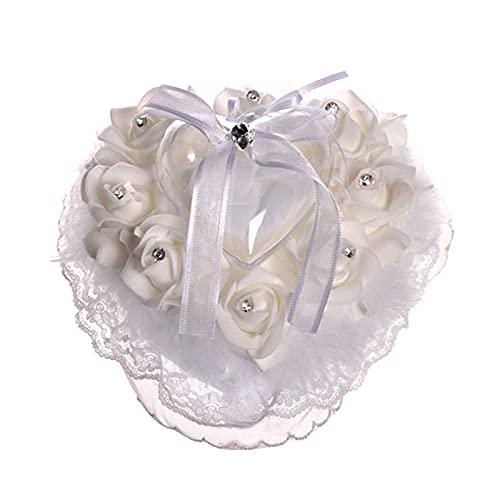 Nicoone Soporte para anillo en forma de corazón para boda, anillo de boda, cojín para anillo de compromiso o ceremonia