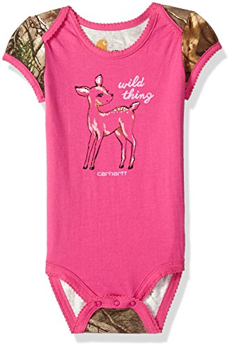 Carhartt Baby Girls Short Sleeve Bodyshirt, Rose Violet, 9M