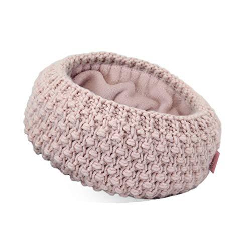 irisaa Stirnband Damen elastisches Haarband gefüttertes Mädchen Ohrwärmer gestricktes Kopfband Grobstrick mit Fleece Innenfutter, stirnband farbe:Pink