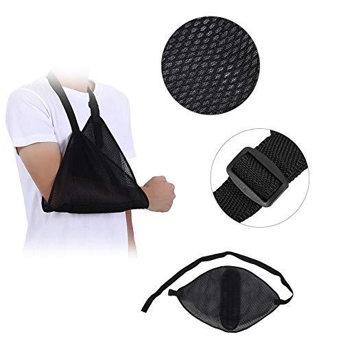 Eslinga de brazo dislocado, inmovilizador de hombro, muñequera, codo y codo con malla transpirable ajustable para desgarros, dislocación, esguinces y tensiones (negro).