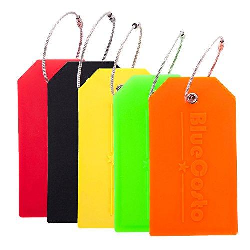 BlueCosto 5X Couleurs Silicone Etiquettes Bagages Etiquette Voyage Valise Baggages étiquettes à Bagage
