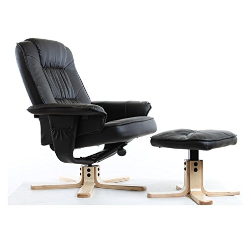IDIMEX Relaxsessel mit Hocker Charly, Fernsehsessel, Drehsessel, Polstersessel, Sessel in schwarz