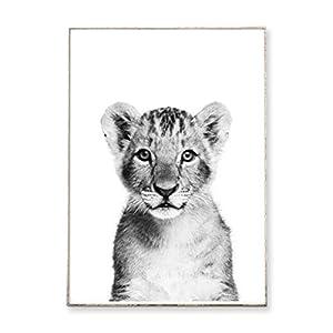 DIN A4 Kunstdruck Poster LÖWE SCHWARZ-WEIß -ungerahmt- Porträt, Löwenjunges, Baby, Tier, Kinderzimmer, Bild