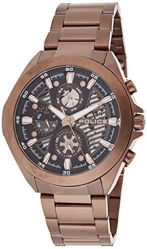 Police Unisex Erwachsene Analog Quarz Uhr mit Edelstahl Armband PL15654JSBN.61M