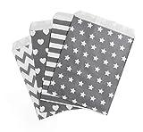 Absofine Papiertüten Geschenktüten Papier Süßigkeiten Papiertüten für Ostern Hochzeit Geburtstag Feier Parteien 100 Stück 4 Designs mit je 25 Papiertüten (Grau)