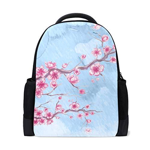 FANTAZIO Mochila antigua artística de cerezo con pintura en flor mochila escolar mochila