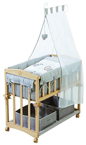 roba Berceau cododo 'Babysitter 4 en 1', bois naturel, collection 'Jumbotwins gris', utilisable comme cododo, berceau (avec pieds balancelle), petit lit (avec roulettes) et banc, avec matelas