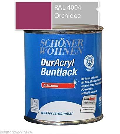 Schöner Wohnen DurAcryl Buntlack 3er Pack, Orchidee RAL 4581, glänzend, wasserverdünnbar, 3 x 375 ml
