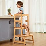 Kitchen Helper Step Stool for Kids and Toddlers with Safety Rail Children Standing Tower for Kitchen Counter, Mothers' Helper Kids Learning Stool, Solid Wood Construction (Natural)