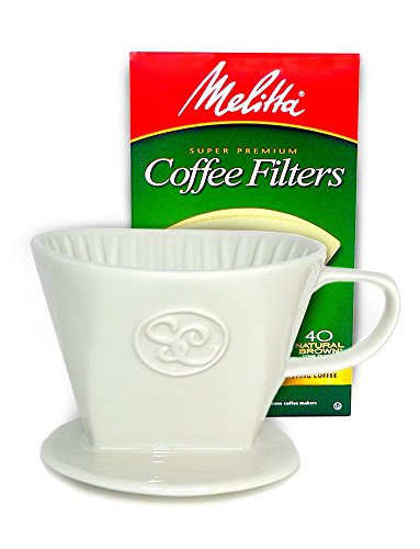 Pour Over Coffee Dripper - Single Cup Ceramic Coffee Maker with 40 Count Melitta Filters by Simply Charmed