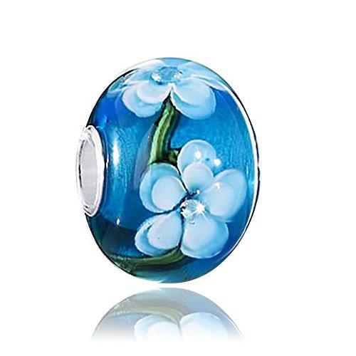 MATERIA Original 925 Silber Murano Beads Blumen & Sommer Element türkis/blau aus edlem Muranoglas #1473
