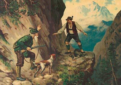 Kunstdruck Überrascht Ringeisen Jagdbild Gemse Gams Jäger Gebirge Wilderer A3 011 Gerahmt