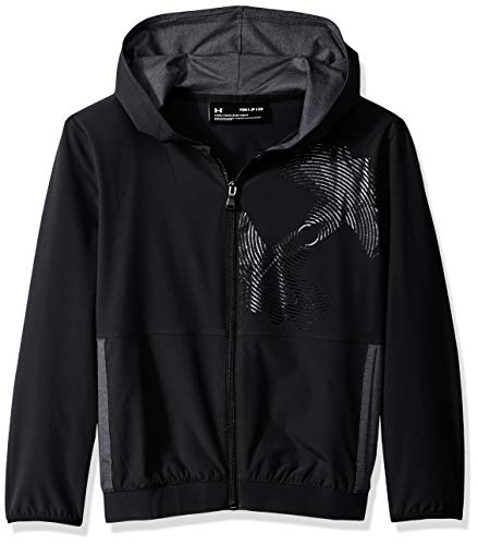 Under Armour Boys Woven Warm Up Jacket, Black (001)/Black, Youth Large