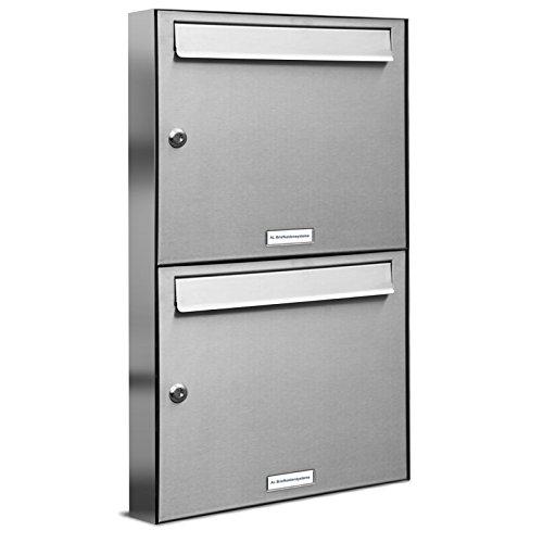 AL Briefkastensysteme 2er Briefkastenanlage aus V2A Edelstahl, Premium Doppel-Briefkasten DIN A4, 2 Fach Postkasten modern Aufputz