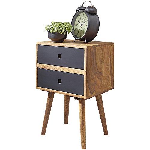 FineBuy Retro Nachtkonsole Sheesham-Holz Nachttisch mit 2 Schubladen Dunkelbraun   Design Nachtkästchen 40 x 35 x 55 cm   Kleines Nachtschränkchen