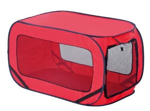 Tierbox pop-up faltbar rot, Hundehütte, Hundebox, Transportbox, für Urlaub, Auto oder Zuhause