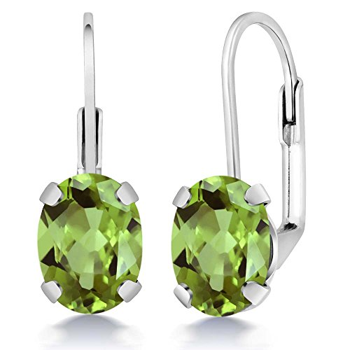 Sterling Silver Green Peridot Women's Earrings 2.66 cttw Gemstone Birthstone Oval 8X6MM