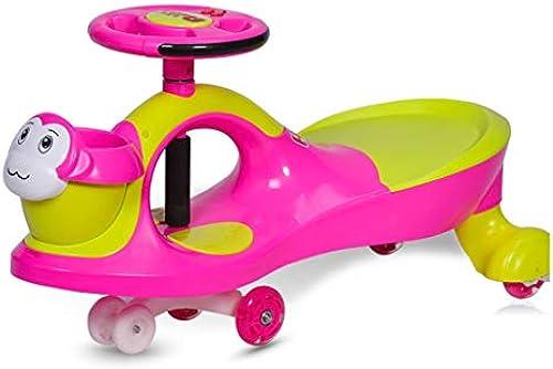Schwingenautospielzeugautokinder-Roller-S lingswindungsauto blinkendes stummes Radmusiklastlager 110kg doppeltes Sätzendes 1-6 Jahre altes Geschenk (Farbe   Grün, Größe   42.5  80  34CM)