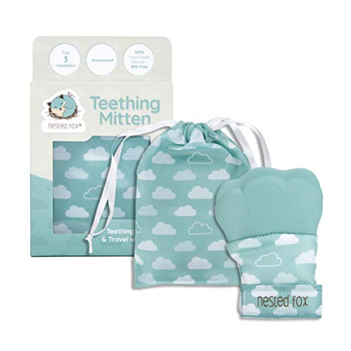 Waterproof Teething Mitten for Babies by Nested Fox | BPA Free Food Grade Silicone | Large Sizing with Adjustable Strap Grows with Your Baby | Unisex Baby Gift for a Boy or a Girl