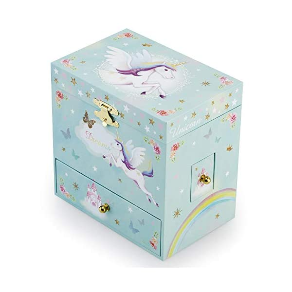 RR ROUND RICH DESIGN Kids Musical Jewelry Box for Girls with 3 Drawers and Jewelry Set with Magical Unicorn - Blue… 5