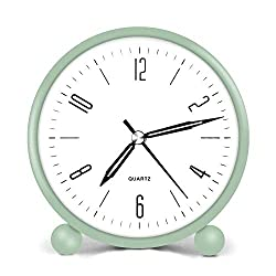 HeQiao Simple Non-Ticking Analog Alarm Clocks with Back-Light for Home Office (Mint Green)