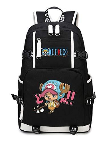 WANHONGYUE One Piece Tony Tony Chopper Anime Backpack Schüler Schultasche Laptop Rucksäcke Freizeittasche Daypack Schwarz-19