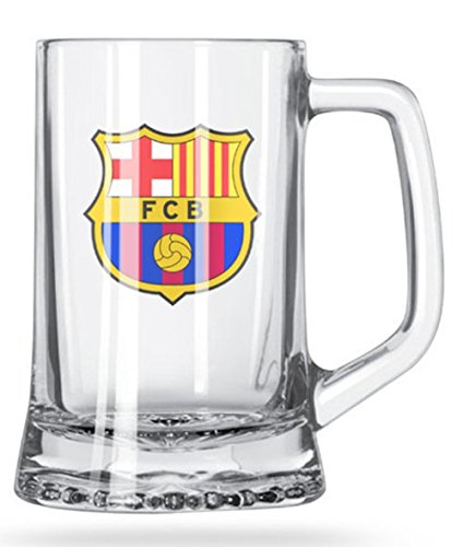 FC Barcelona Short Beer Mug - Glass Mug with The Crest in Full Color - Buy The Beer Mugs for Your Next Party - Get Some Mugs for A Friend, Get Some for You Too!