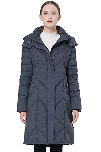 Orolay Women's Hooded Down Jacket Winter Long Coat Snap Button Puffer Jacket Darkgrey M